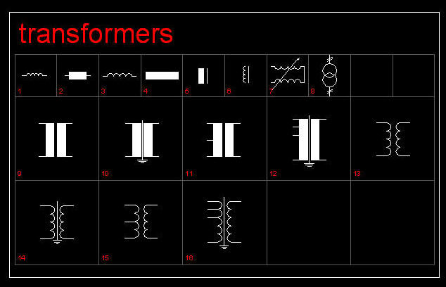 Cad Drawing Electric Electronic Symbols Transformers