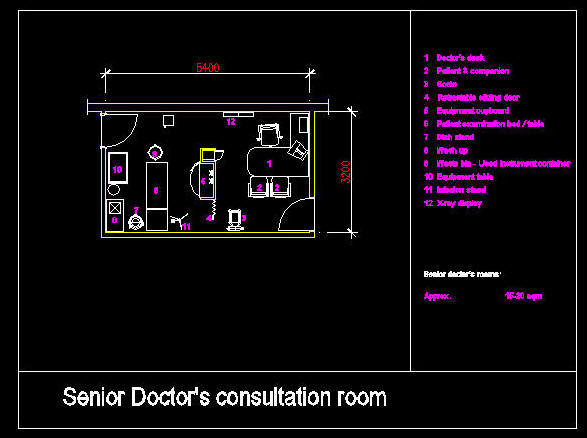 CAD DRAWING HOSPITAL CLINIC ROOM SENIOR DOCTORS CONSULTATION