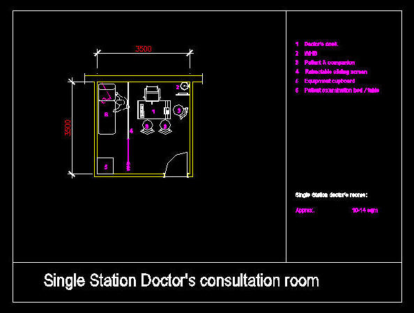 CAD DRAWING : HOSPITAL / CLINIC ROOM - STATION DOCTOR\'S OFFICE (SINGLE)