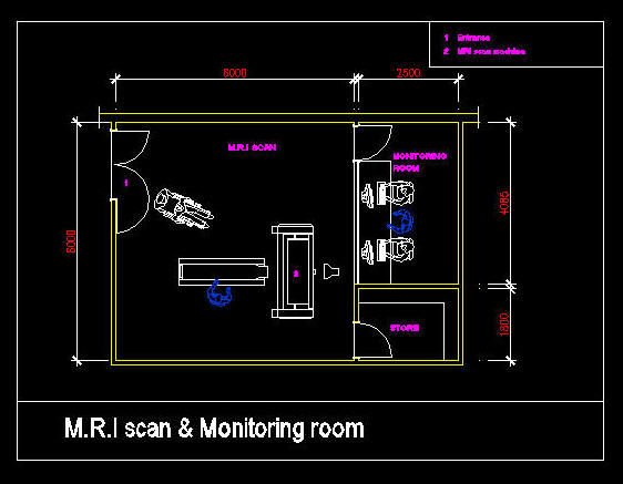 CAD DRAWING : HOSPITAL / CLINIC ROOM - M R I  SCAN ROOMS
