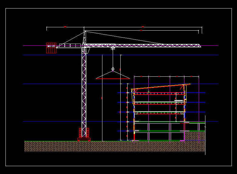 Mobile Crane Cad Block : Cad drawing m clear height building crane