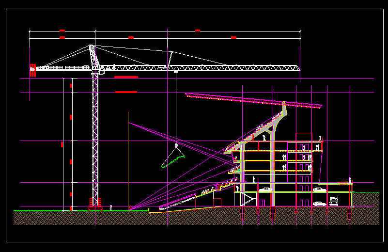 Plan To Elevation Converter : Cad drawing m clear height building crane