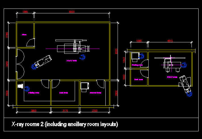 CAD DRAWING : HOSPITAL / CLINIC ROOM - X-RAY ROOMS 2, WITH
