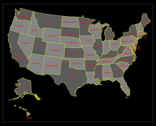 CAD DRAWING US Map Showing States - Drawing of usa map
