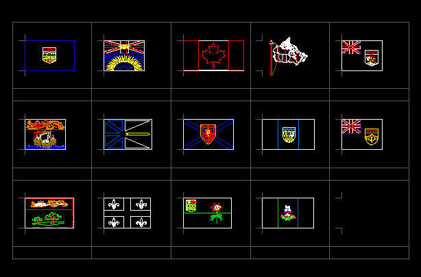 cad drawing  flags